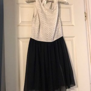 Semi formal black and white dress